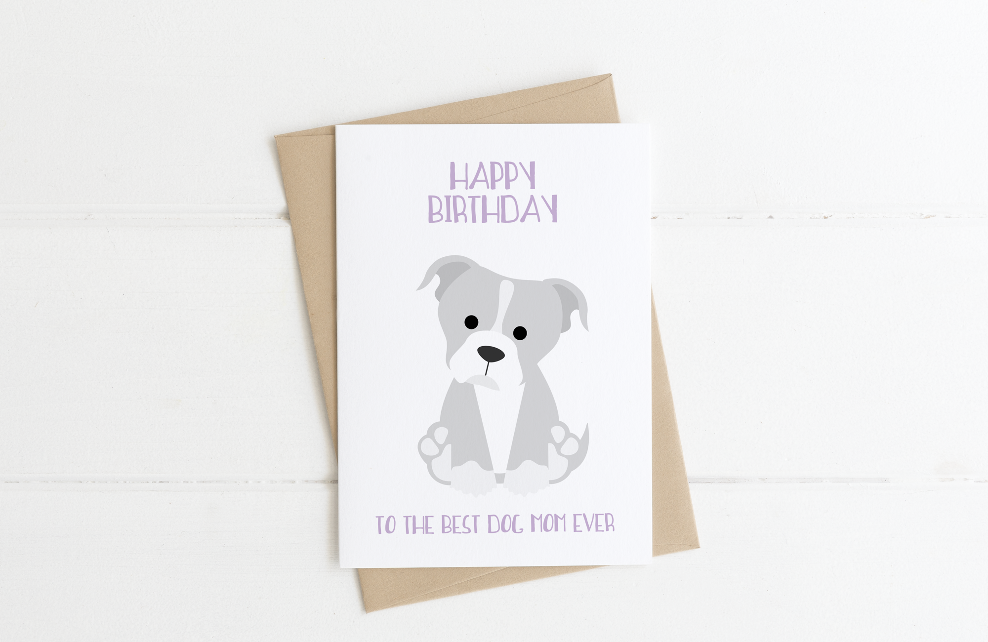 Bulldog Dog Mom Birthday Card