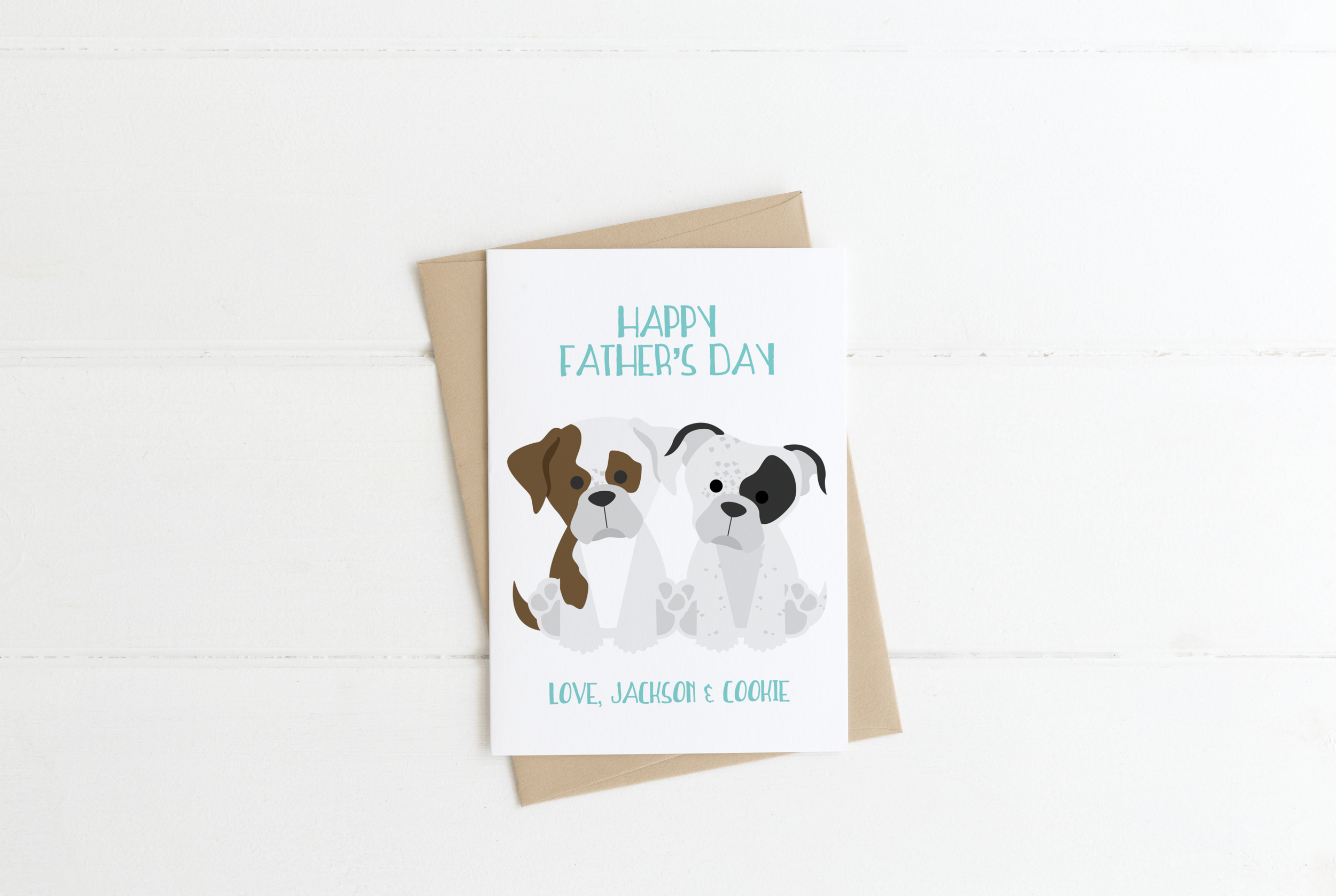 Boxer Bulldog Dog Dad Birthday Card