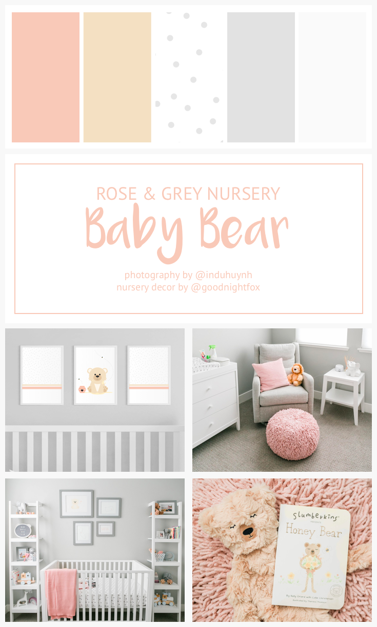 Rose Grey Baby Bear Nursery