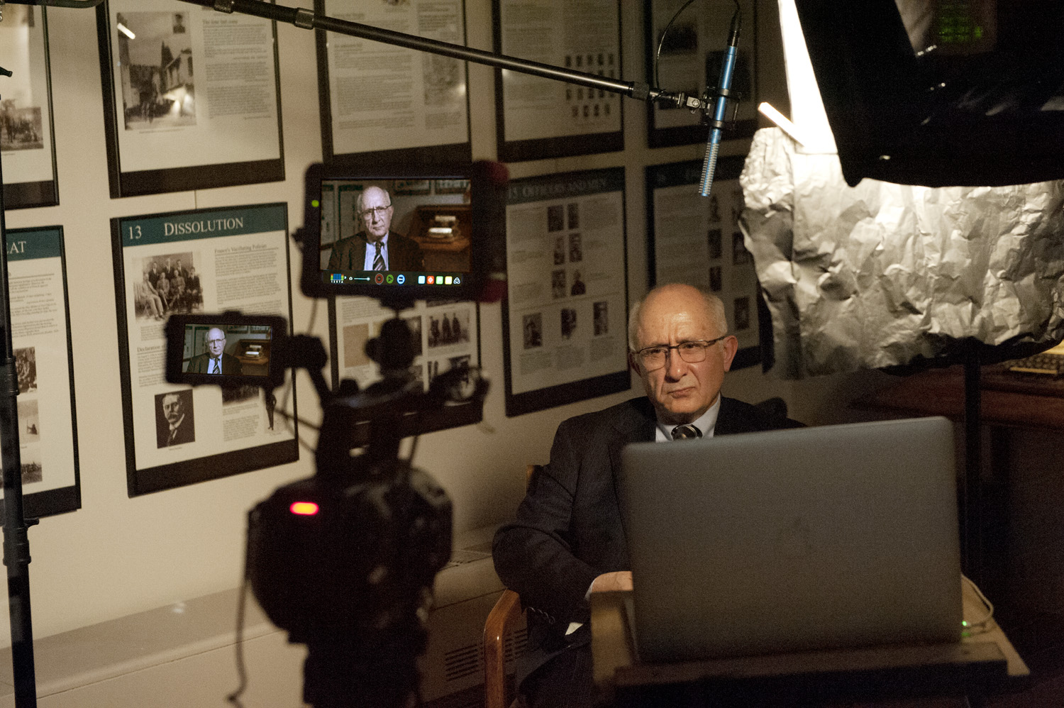 Akçam being documented at the Armenian Museum of America in Watertown for his presentation