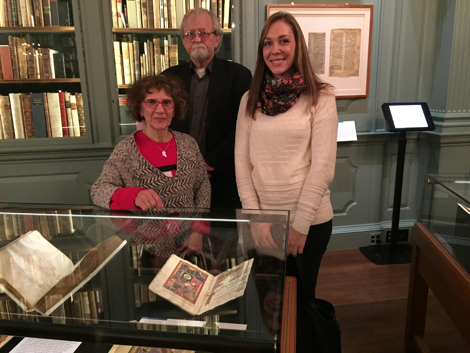 ALMA Curators Gary & Susan Lind-Sinanian and Collections Manager Susanna Fout with the Canon Tables at Houghton Library