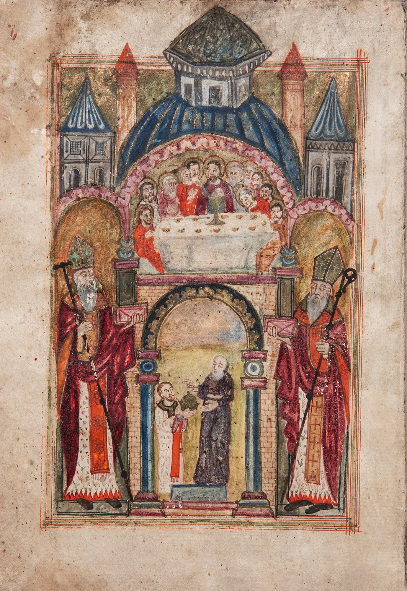 Illumination of the Liturgy of the Eucharist. Hand-copied in AD 1711 by Yeghia Marsvantsi Elijah of Marsvan. Donated to the Armenian Museum by Adele and Haig Der Manuelian.