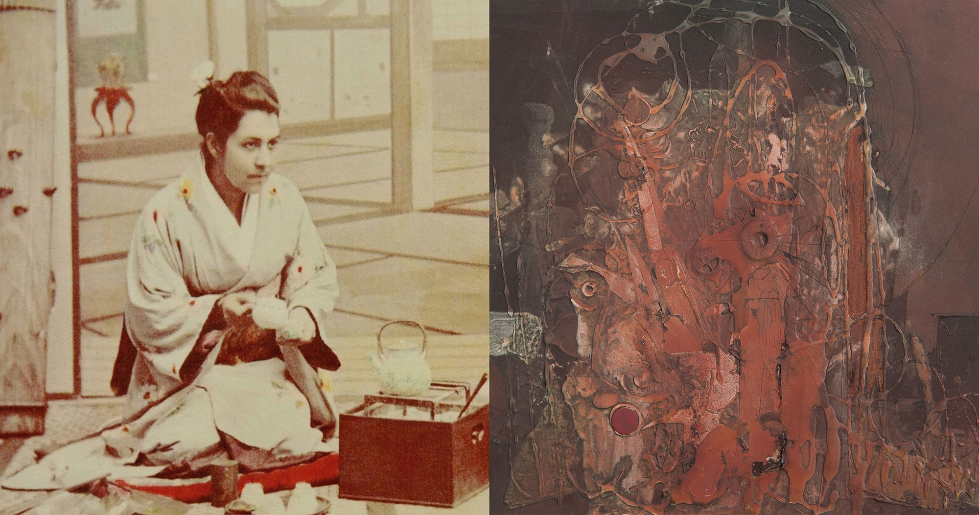 Diana Apcar in Japan in 1890. Berj Kailian, Untitled, mixed media on board, about 1970