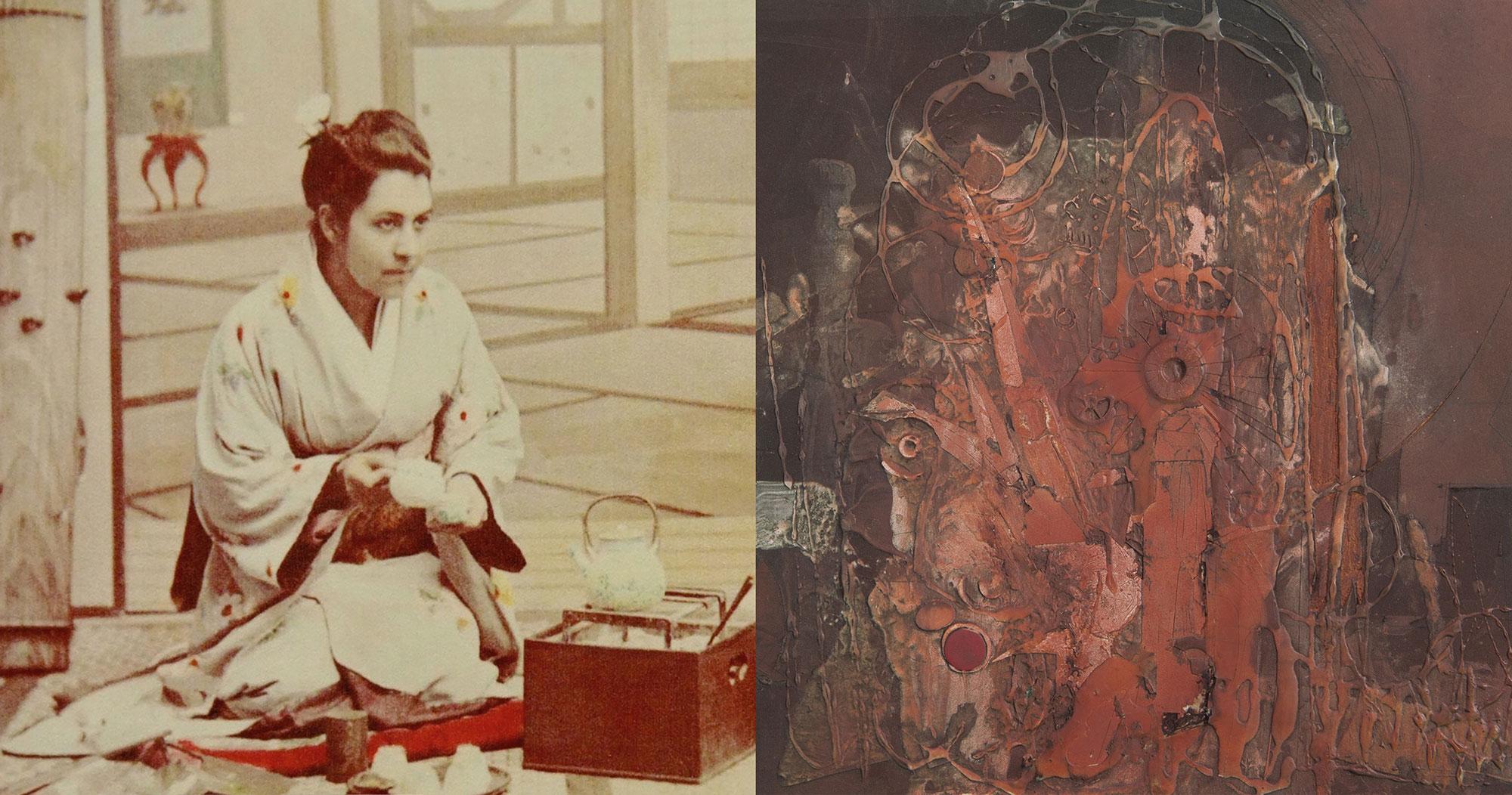 Diana Apcar in Japan in 1890. Berj Kailian, Untitled, mixed media on board, about 1970