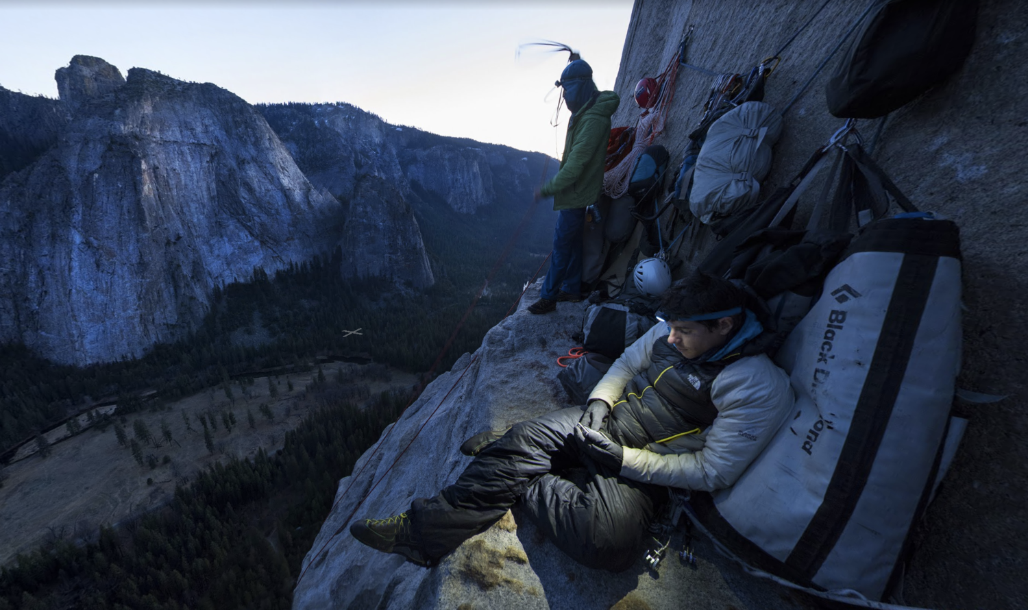 El Cap at Night  About halfway up the 3,000 foot route, El Cap Tower makes a comfortable ledge to stop for the night for Alex Honnold, Lynn Hill, and Tommy Caldwell. See the Street View here.