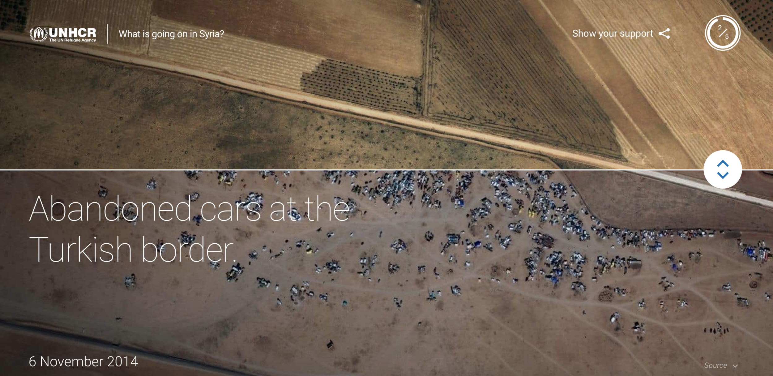 Never before released satellite imagery.  The Google Earth team released never before seen satellite imagery to show the severity of the crisis in new ways. The above image showed how cars had been abandoned at the border by fleeing refugees. We combed through years of data to find arresting, relevant data to share.