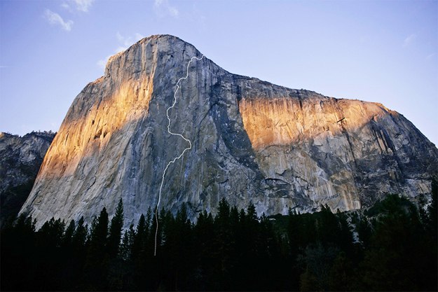 Google Earth imagery  showing the route that Tommy Caldwell and Kevin Jorgeson climbed up El Capitan.