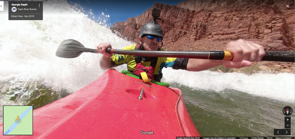 Street View  Street View image of Lonnie Bedwell kayaking through Georgia Rapid in the Grand Canyon