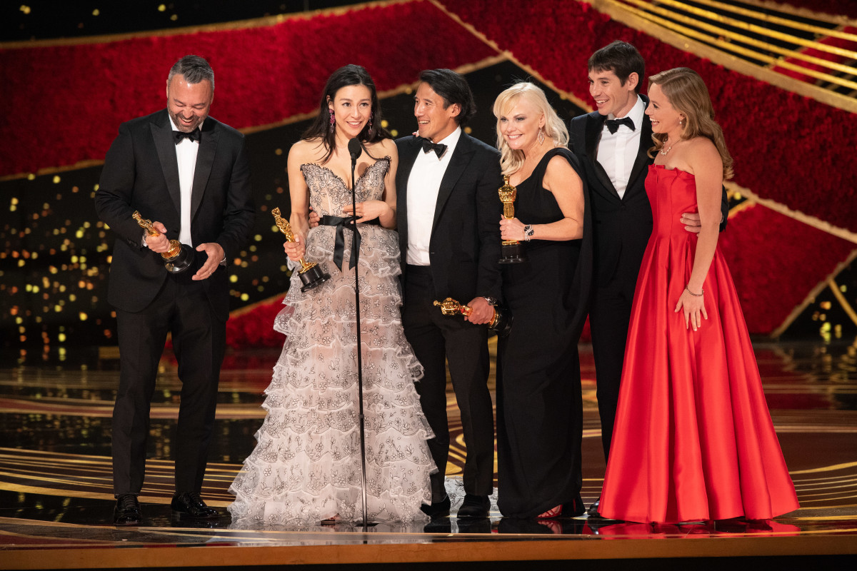 Winning an Oscar  Members of the Free Solo team accepting the Academy Award for Best Documentary of 2019