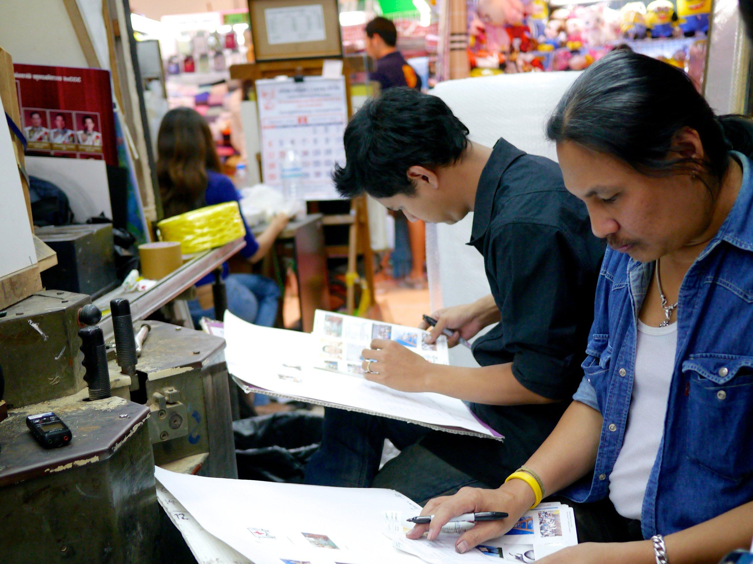Bangkok participants in their mall shop (August 2013)