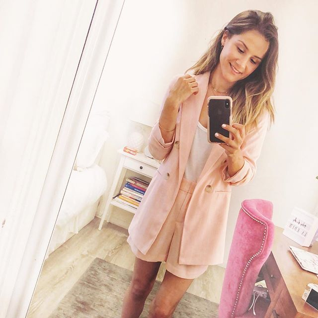 Obsessed with this pink suit from @missselfridge 💗 . . . . #summer #weddingguestdress #missselfie #pink #palepink #shortssuit #ootd #outfitinspo #blondebalayage #styleblogger #fblogger #summerstyle #cute