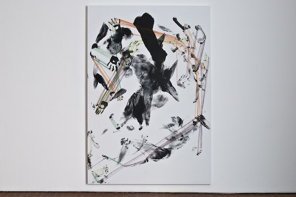 Inversion ,  Clockwise ,2012 Ink and colored pencil on canvas 200 x 100 cm