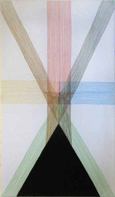 Four Vector Space Interaction Drawing 3: Space Under Spread Legs  Marker pen on gesso on MDF board 74 x 57 inches