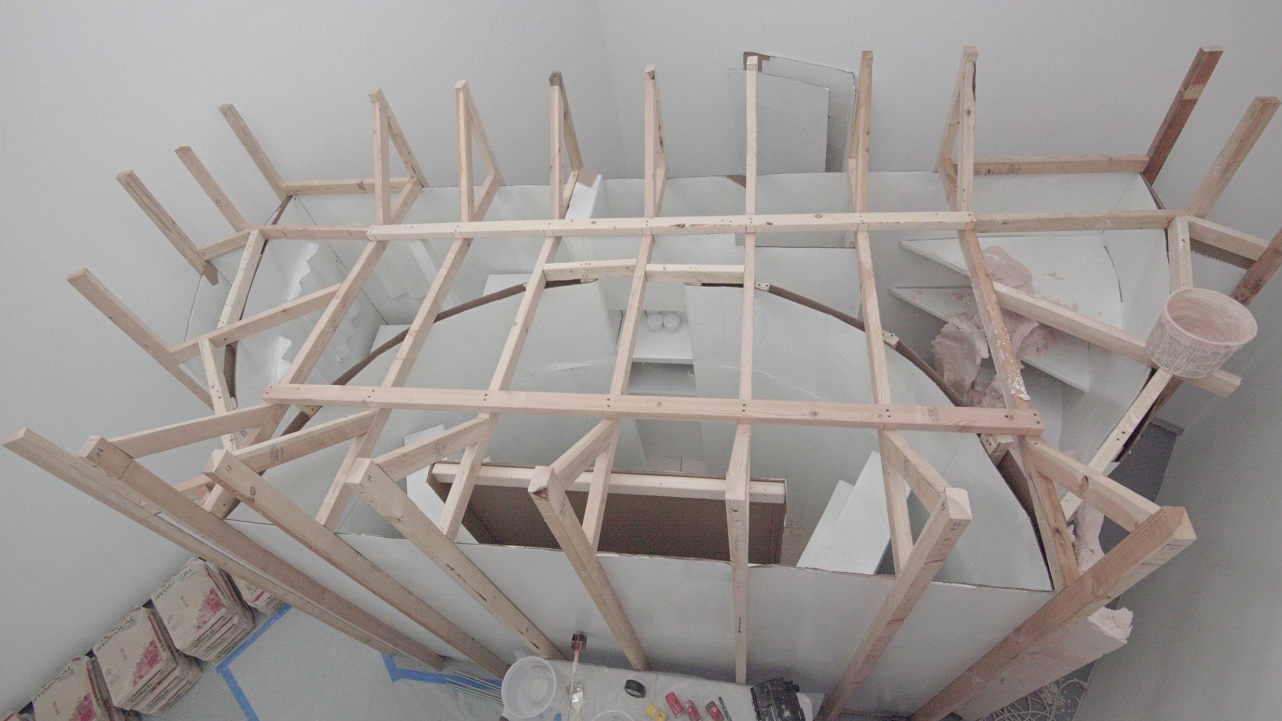 Shee, 2018  (work in progress)  wood, cardboard, enamel paint, plastic, plaster