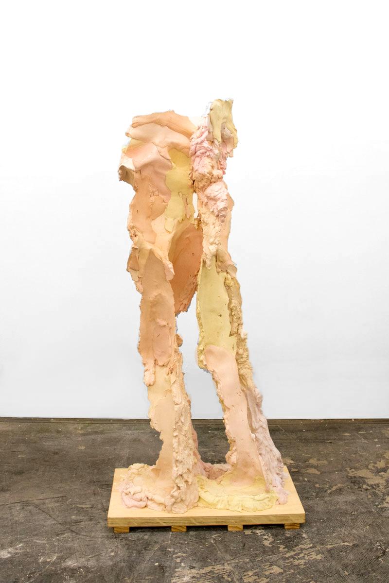 LLTT1  Plaster, Steel, Pigment, and Wax on a Wood Base, 2018  149cm 65cm x 38cm