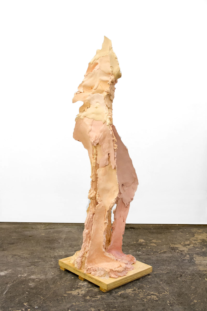 TFTF1  Plaster, Steel, Pigment, and Wax on a Wood Base, 2018  155cm x 50cm x 40cm