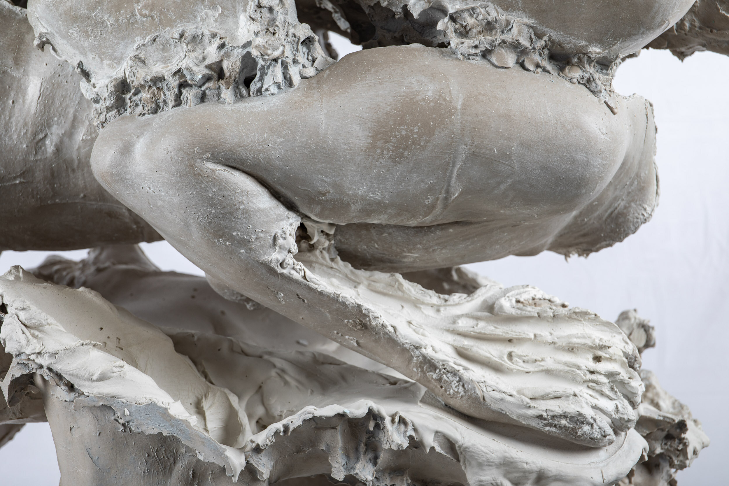 Calcify (detail)   Aquaresin, hydrocal, steel, glass, limestone sand, glass fiber, pigment, clay    140 x 45 x 100 cm    2019