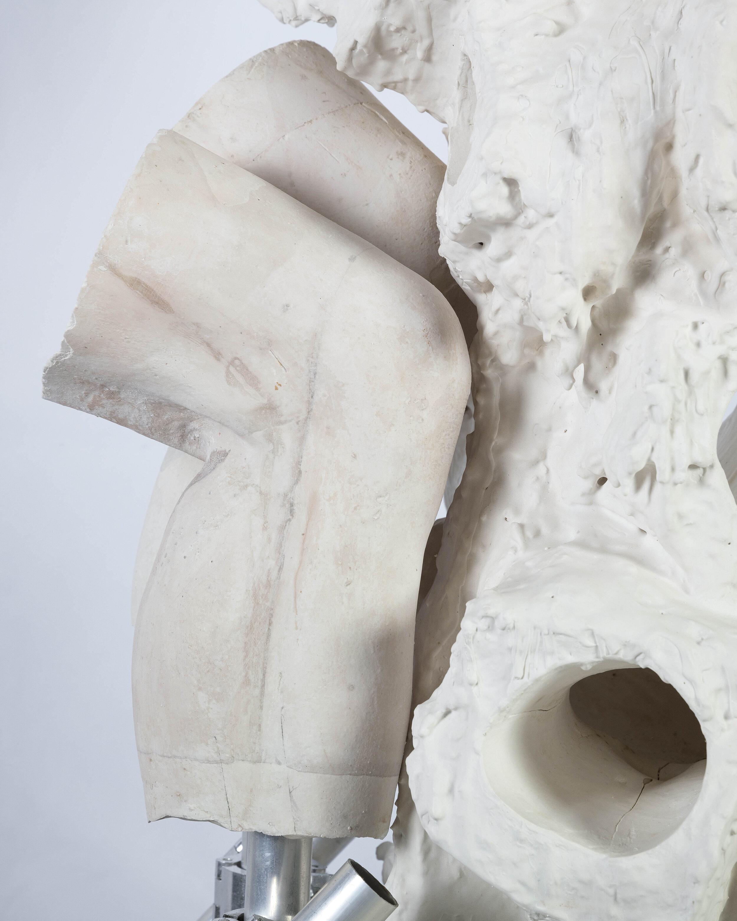 Contraction 3 (detail)   Dental plaster, steel, aluminium, acrylic, burlap, wax    160 x 80 x 50 cm    2019