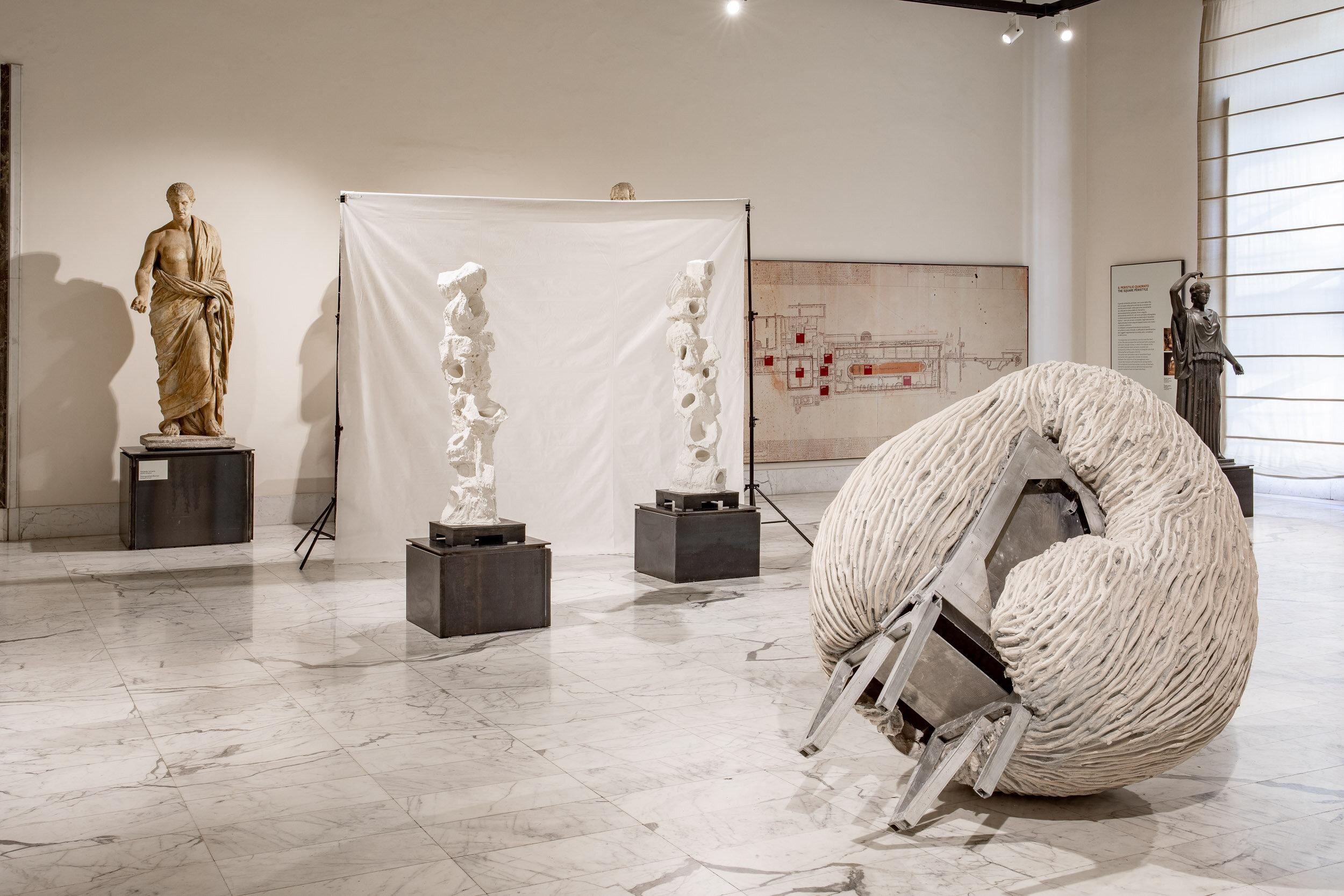 Anthropometry (installation view)  Aquaresin, aluminium, glass fiber, steel, pigment, clay  170 x 140 x 130 cm  2019