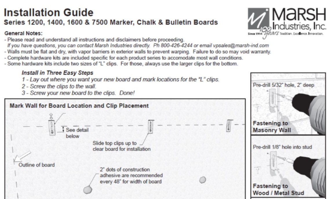 Install Guide - Series 1200, 1400, 1600 & 7500 Marker, Chalk and Bulletin Boards