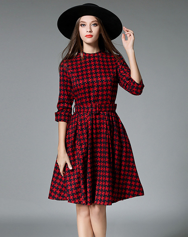 Women-s-Green-Vintage-Woven-Check-Preppy-Dress-with-Belt-Chic-O-Neck-Long-Sleeve-A.jpg