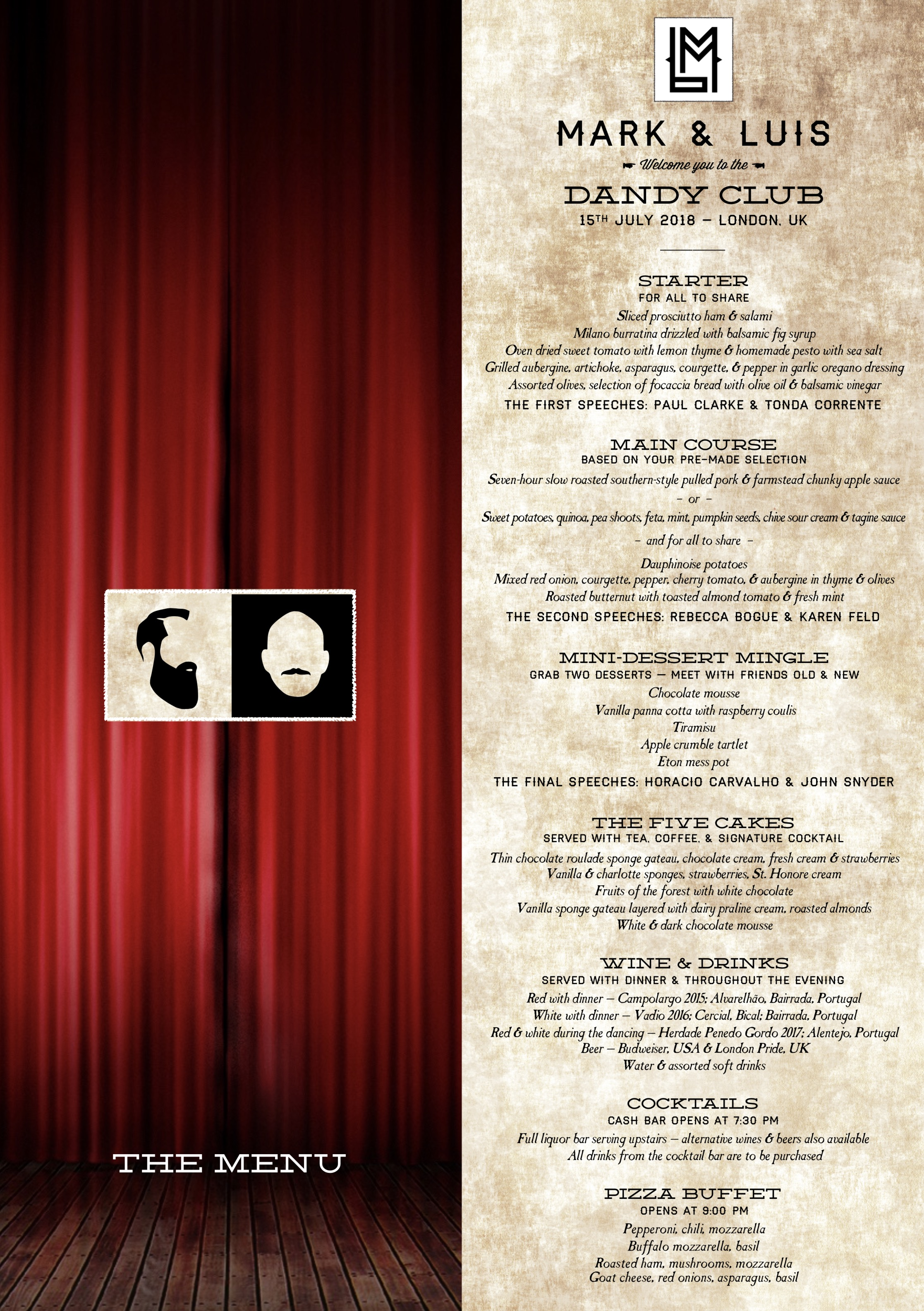 The menu from Act II: The Banquet.