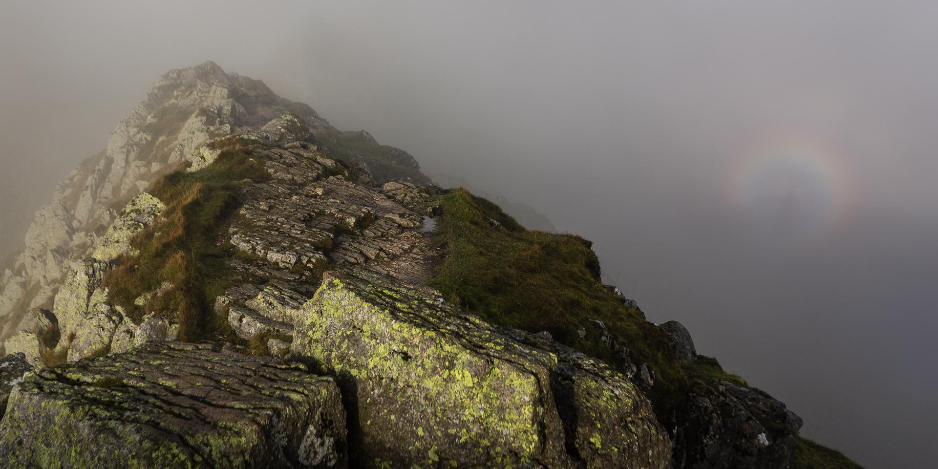 A brocken spectre in the cloud off the ridge