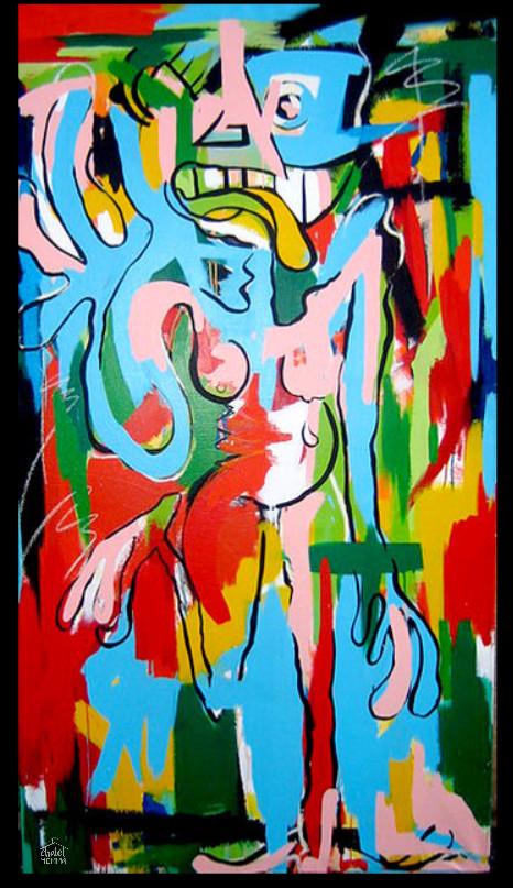 Woman - -acrylic spray paint and oil stick on canvas