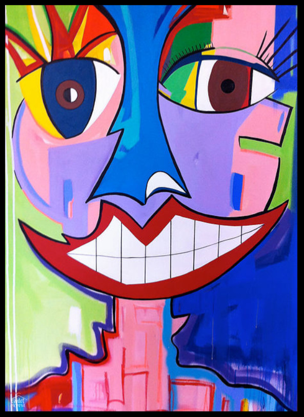 Hello There --acrylic spray paint and oil stick on canvas
