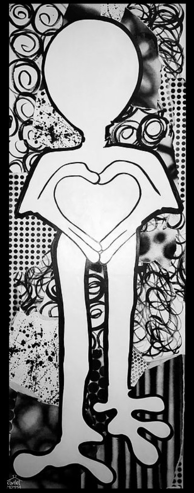All You Need Is Love - acrylic paint and paper on wood panel