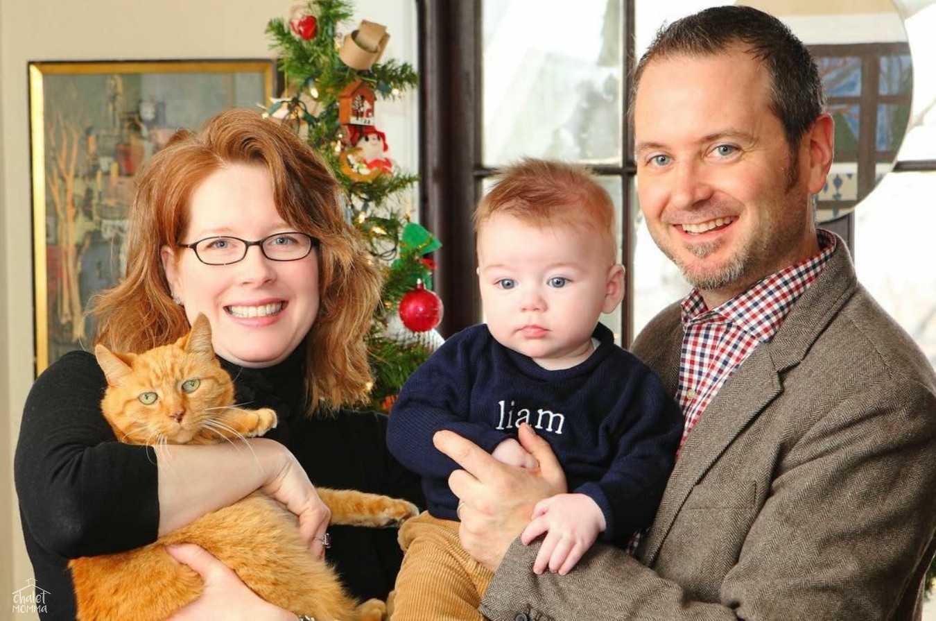 Our  First Family Christmas Card  with Fred and a 6 month old Liam December 2011