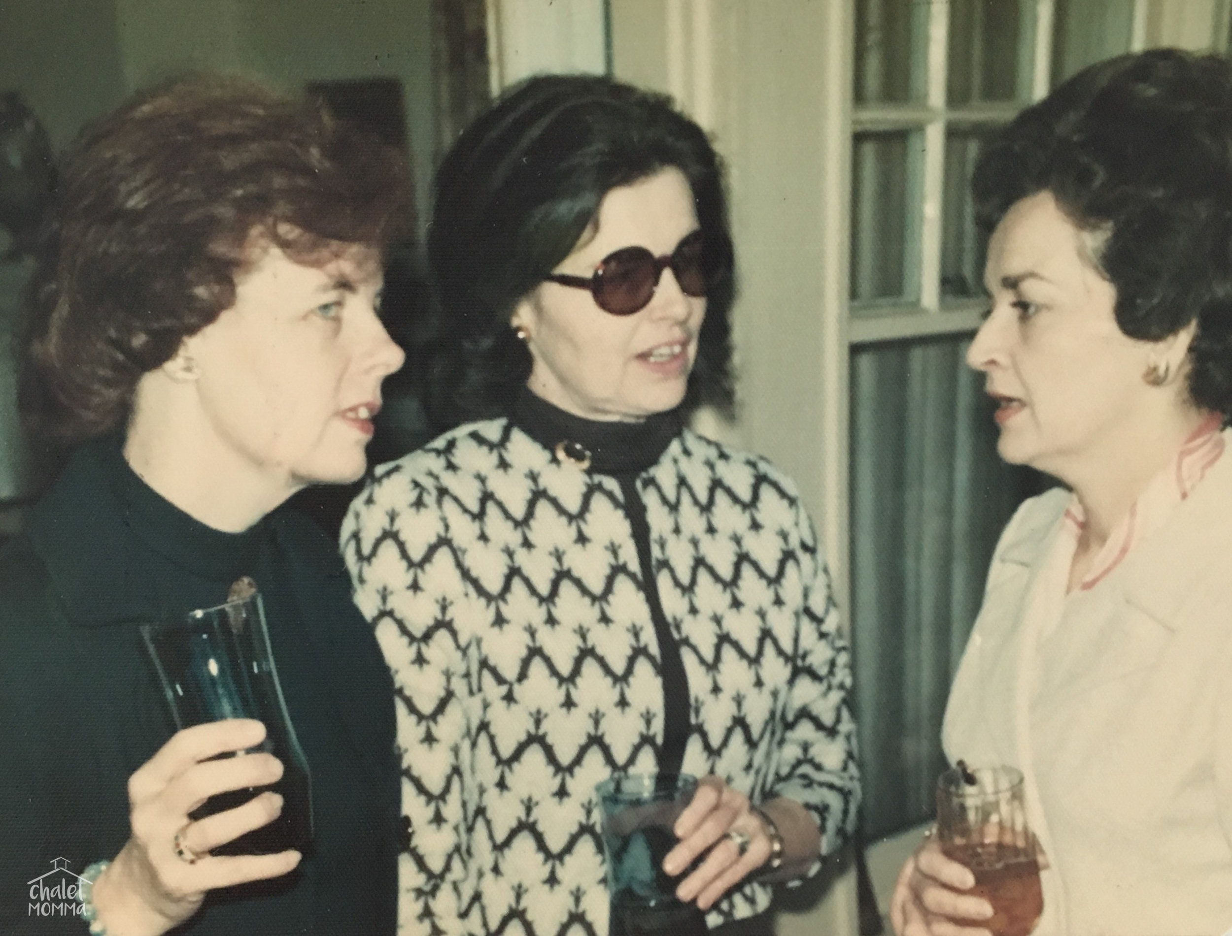 1974 sporting her Jackie O sunglasses with her sister Marion left and her sister in law Gladys.