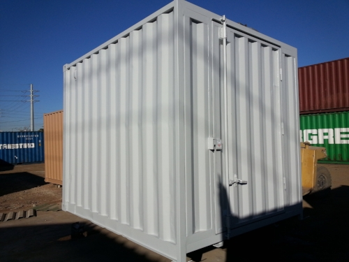 The 10 foot steel storage container is a custom size that is convenient and versatile, perfect for residential or on-site storage in tight spaces.