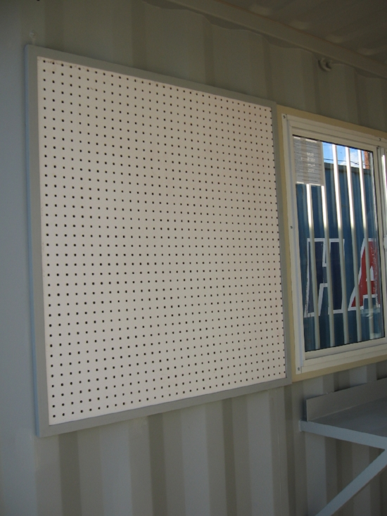 Custom peg board for work shops