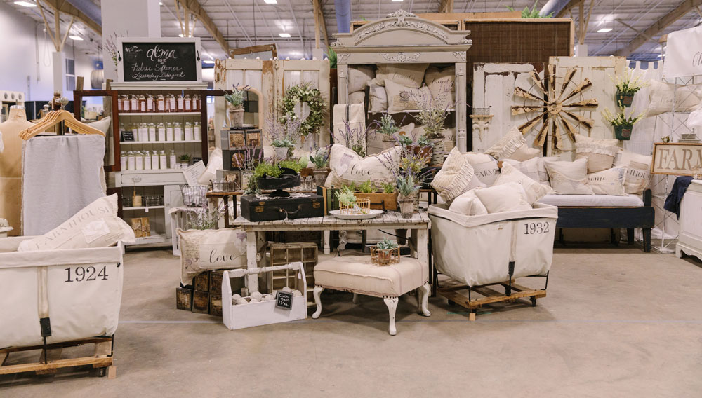 Booth featuring antiques at the City Farmhouse Pop Up Fair in Baton Rouge, Louisiana