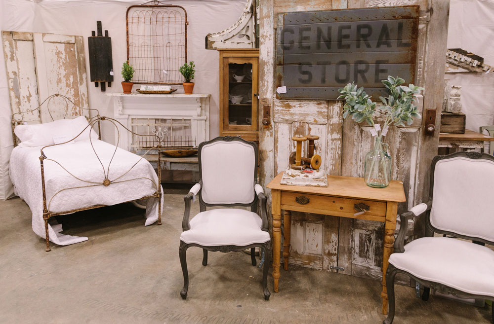 Antique Bed and Chairs at the City Farmhouse Pop Up Fair