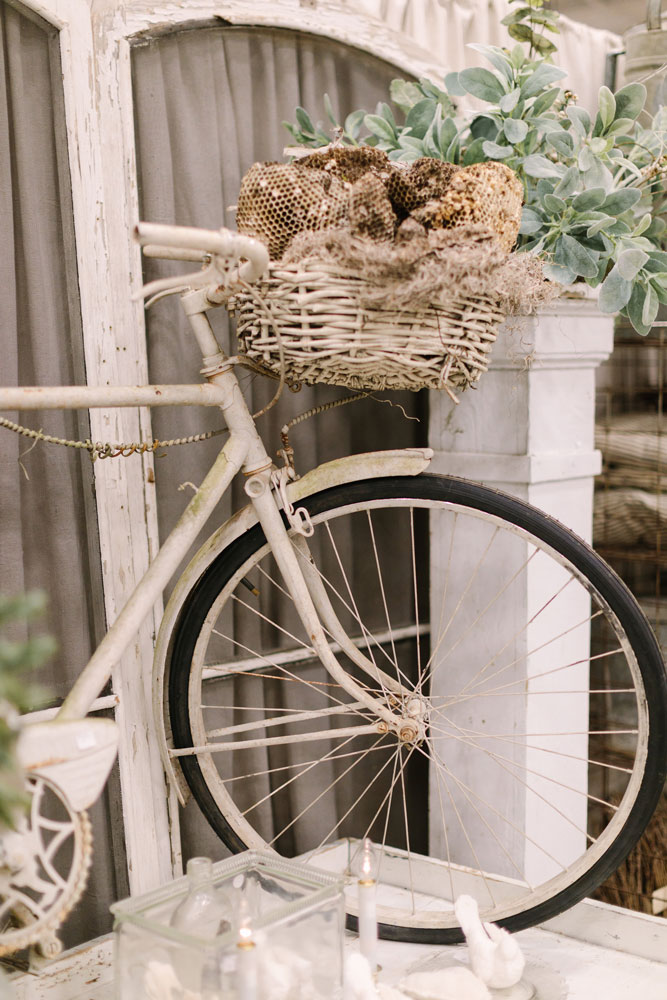 Vintage white bicycle at the City Farmhouse Pop Up Fair