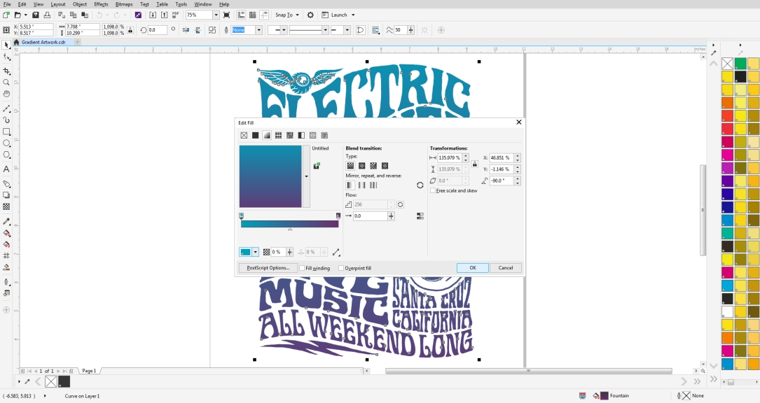 Use the edit fill tool to create a fountain gradient in CorelDRAW.