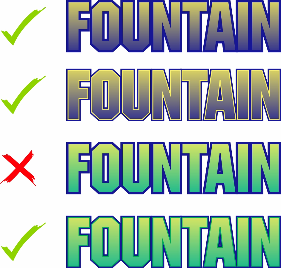 You can achieve a fountain fill using two colors when one of those two colors is used as a backup. You cannot have a third color backing up or touching the halftones.