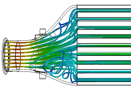 Flow simulation as seen without an internal fin