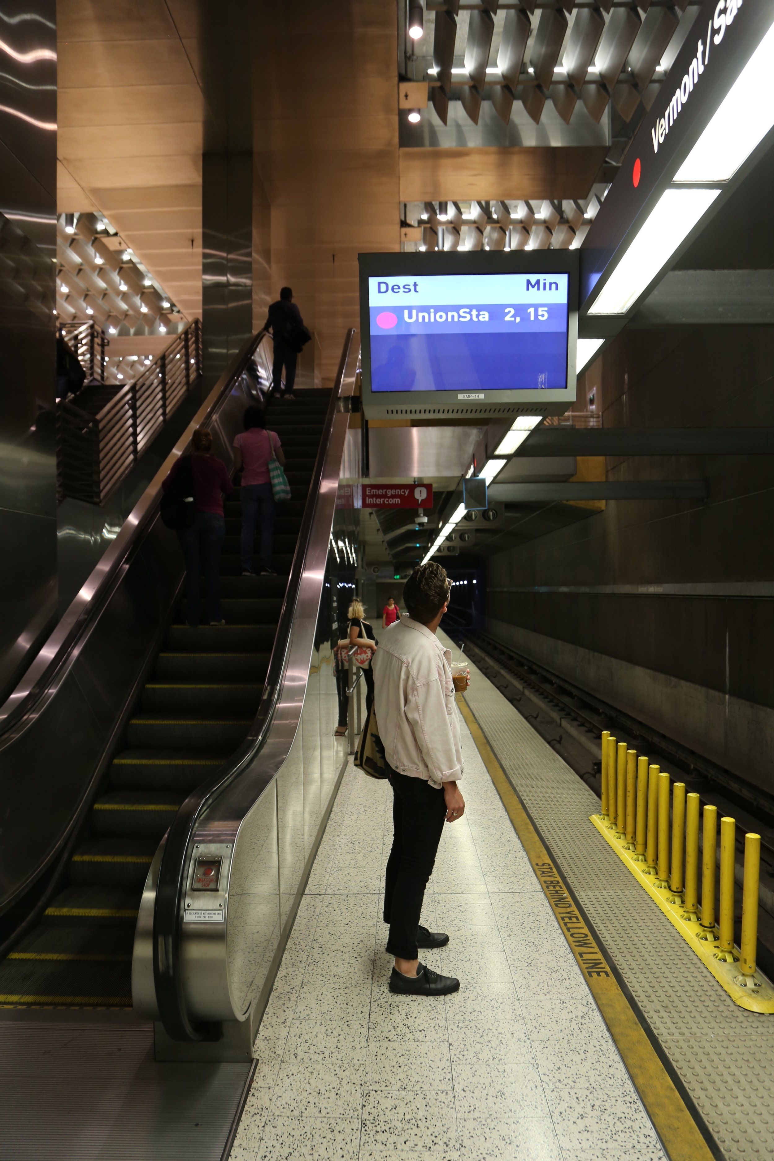 Video monitors display when the next train is coming.