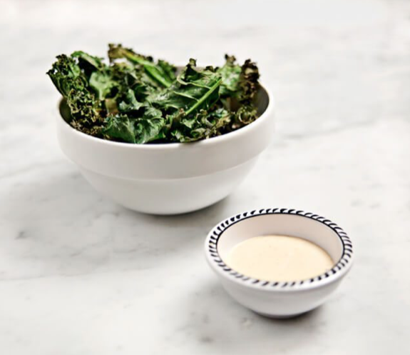 Kale Chips with Miso Dipping Sauce -