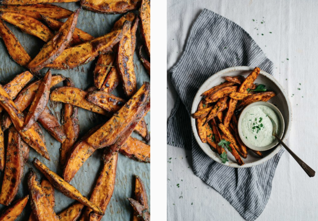 Sweet Potato Wedges with Green Yogurt Sauce