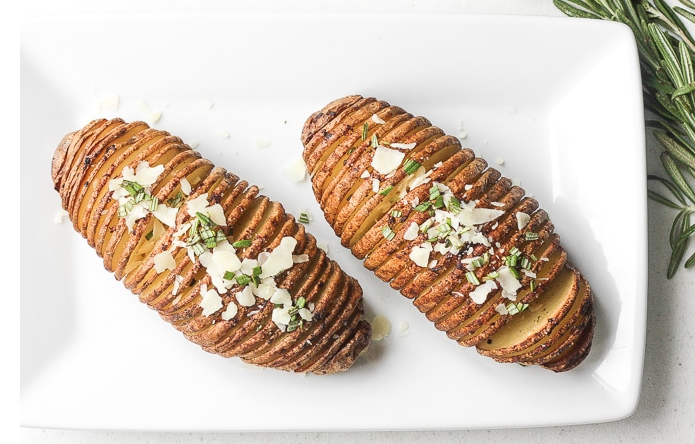 Hasselback Potatoes with Garlic Herb Butter -