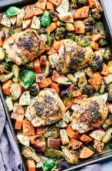 Sheet Pan Roasted Garlic Herb Chicken with Potatoes and Brussels Sprouts -