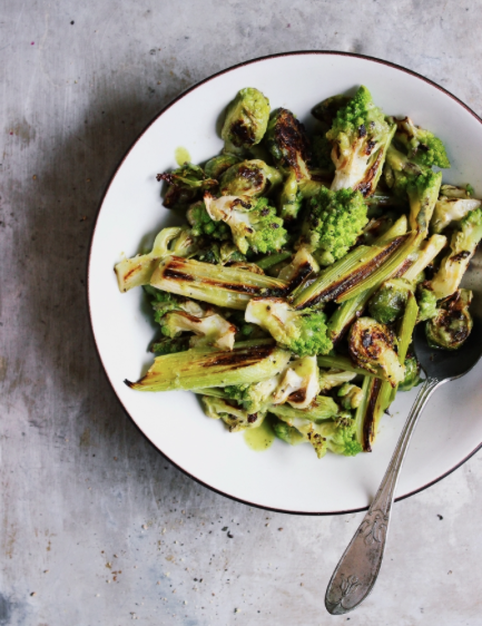 Roasted Romanesco Leek + Brussels Salad with Green Olive Dressing -