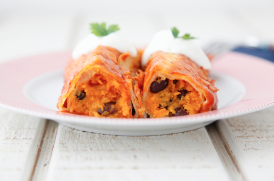 Sweet Potato Black Bean Enchiladas -
