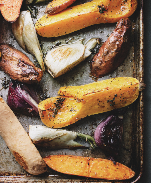 Roasted Vegetable Plate with Red Pepper Spread -