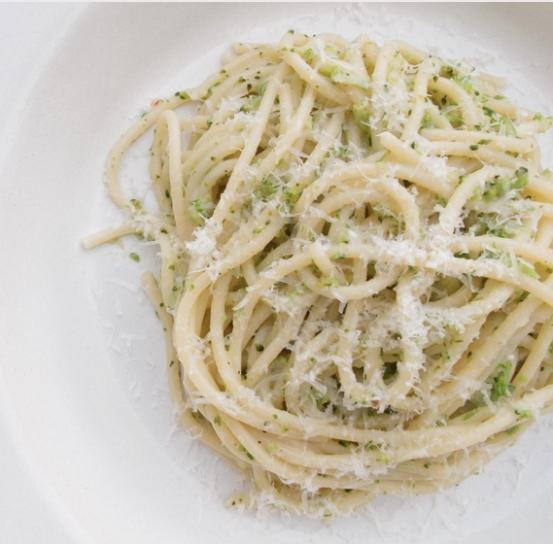 Spaghetti With Broccoli Pesto -