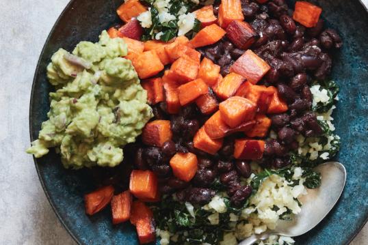 Cauliflower Rice Veggie Bowls With Insta Pot Black Beans -